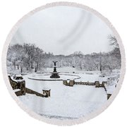 Bethesda Fountain In Central Park Round Beach Towel