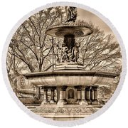 Bethesda Fountain Sepia  Round Beach Towel