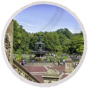 Bethesda Fountain V - Central Park Round Beach Towel