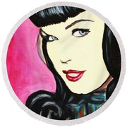 Round Beach Towel featuring the painting Bettie Page Pop Art Painting by Bob Baker