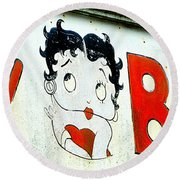 Betty Boop Herself Round Beach Towel by Kathy Barney