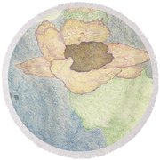 Round Beach Towel featuring the drawing Between Dreams by Kim Pate