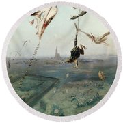 Between Heaven And Earth, 1862 Oil On Canvas Round Beach Towel