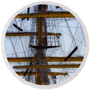 Between Masts And Ropes Round Beach Towel