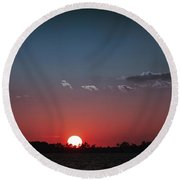 Between The Light And The Dark Round Beach Towel