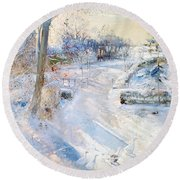 Between The Shadows Oil On Canvas Round Beach Towel