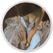 Between The Sheets Round Beach Towel