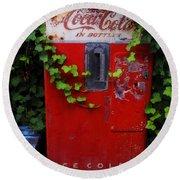 Austin Texas - Coca Cola Vending Machine - Luther Fine Art Round Beach Towel