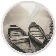 Beynac Boats Round Beach Towel