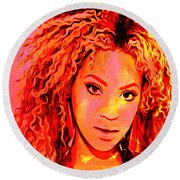 Round Beach Towel featuring the painting Beyonce by Brian Reaves