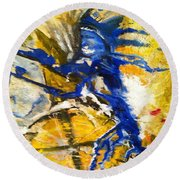 Round Beach Towel featuring the painting Beyond Boundaries by Kicking Bear  Productions