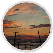 Round Beach Towel featuring the photograph Beyond The Border by Barbara McMahon