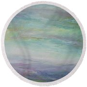 Round Beach Towel featuring the painting Beyond The Distant Hills by Mary Wolf