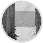 Beyond The Dunes Bw Round Beach Towel