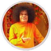Bhagavan Sri Sathya Sai Baba Round Beach Towel