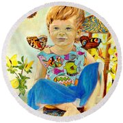 Round Beach Towel featuring the painting Bianka And Butterflies by Henryk Gorecki