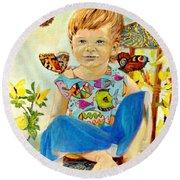 Bianka And Butterflies Round Beach Towel by Henryk Gorecki
