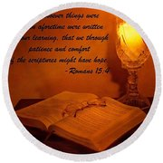 Bible By Candlelight Round Beach Towel