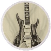 Bich Electric Guitar Monocolored Round Beach Towel