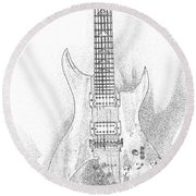 Bich Electric Guitar Sketch Round Beach Towel