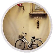 Bicycle And Madonna Round Beach Towel
