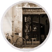 Bicycle And Reflections At L'antiquari Bar  Round Beach Towel