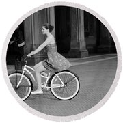 Bicycle Girl 1b Round Beach Towel