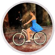 Bicycle Girl 1c Round Beach Towel