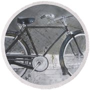Bicycle In Rome Round Beach Towel