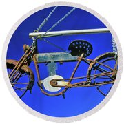 Bicycle Sign Outside Store, Virginia Round Beach Towel
