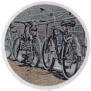 Bicycles On A Rail Round Beach Towel