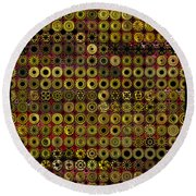 Biding Time In The Gold Flocked Basement Twixt Death And Funeral Round Beach Towel