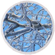 Bifurcations In White And Blue Round Beach Towel by Brian Boyle