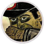 Round Beach Towel featuring the painting Big Bad John Coal Miner by Jeffrey Koss