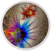 Round Beach Towel featuring the digital art Big Bang by Eleni Mac Synodinos