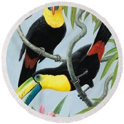 Big-beaked Birds Round Beach Towel by RB Davis