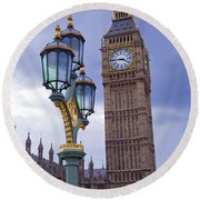 Big Ben And Lampost Round Beach Towel by Simon Kayne