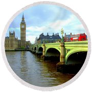 Big Ben And River Thames Round Beach Towel