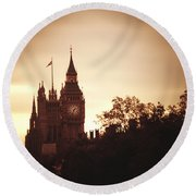 Big Ben In Sepia Round Beach Towel by Rachel Mirror