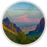 Big Bend Texas From The Chisos Mountain Lodge Round Beach Towel