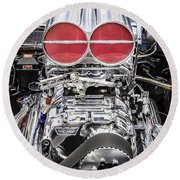 Big Big Block V8 Motor Round Beach Towel