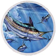 Big Blue And Tuna Round Beach Towel