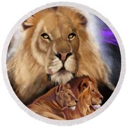 Third In The Big Cat Series - Lion Round Beach Towel