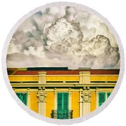 Round Beach Towel featuring the photograph Big Cloud Over City Building by Silvia Ganora
