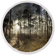 Big Cypress Fire At Sunset Round Beach Towel