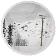 Big Horn Sheep Hinton Hillside Round Beach Towel