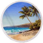 Hawaiian Beach Seascape - Big Island Getaway  Round Beach Towel