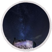 Big Muskie Bucket Milky Way And A Shooting Star Round Beach Towel