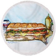 Big Ol Samich Round Beach Towel by Shana Rowe Jackson