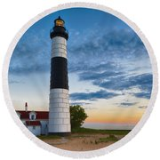 Round Beach Towel featuring the photograph Big Sable Point Lighthouse Sunset by Sebastian Musial